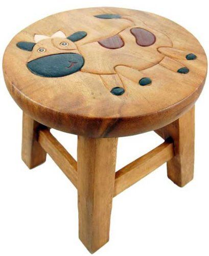 Children S Wooden Step Or Stool Cow Design Personalised