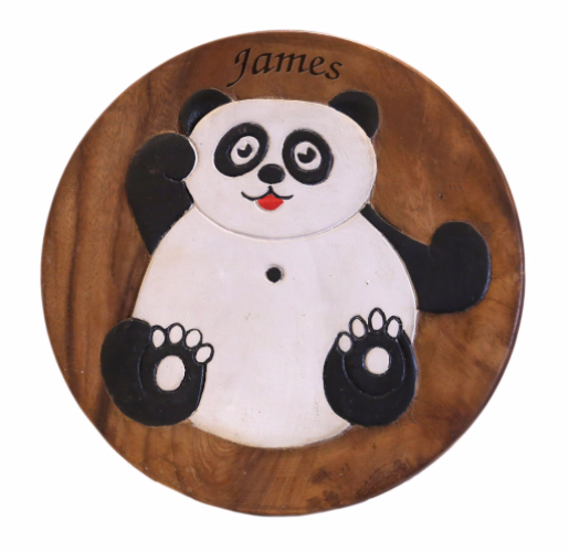 Children S Wooden Step Or Stool Panda Design Personalised