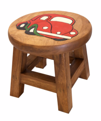 Children 39 S Wooden Step Or Stool Red Car Design