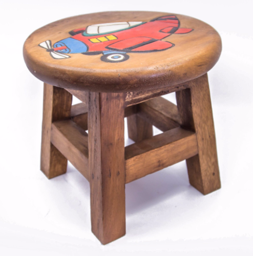 Children S Wooden Step Or Stool Red Plane Design