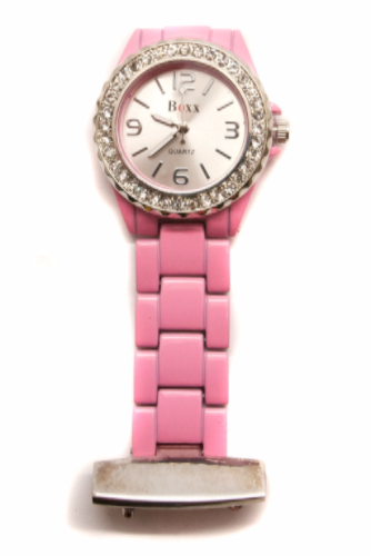 Pink & Chrome Beauticians or Nurses Fob Quartz Watch Personalised