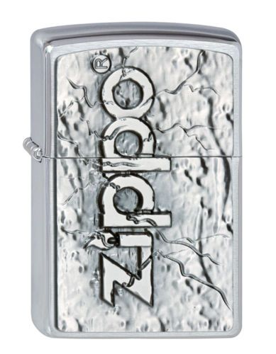 3D Stone Brushed Chrome Zippo Lighter