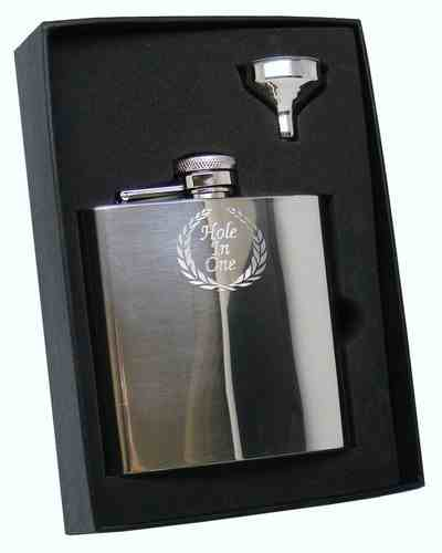 6oz Hole In One Golf Laurel Wreath Design Hipflask Personalised