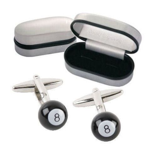 8 Ball Pool Cufflinks Personalised | County Engraving