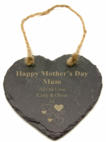 A Mothers Day Slate Heart Personalised