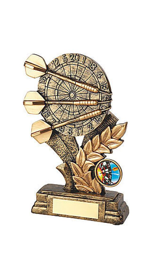 Antique Gold Resin Darts Trophy Personalised | County Engraving