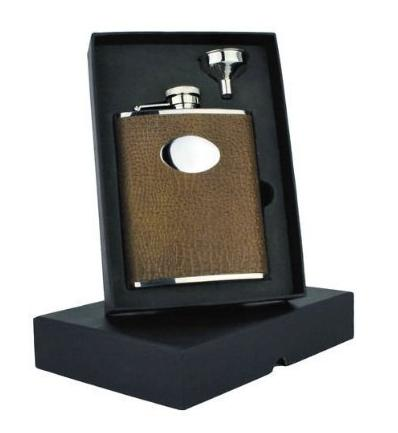 Brown Faux Leather Hip Flask Personalised