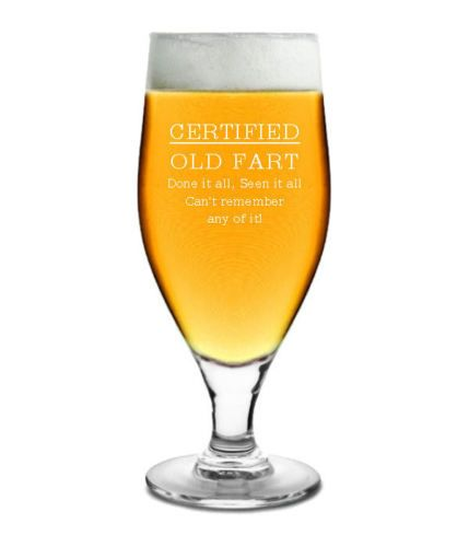 Certified Old Fart Pint Glass Personalised