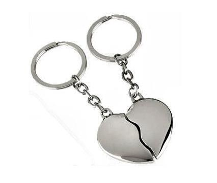 Chrome Joining Hearts Key Rings Personalised