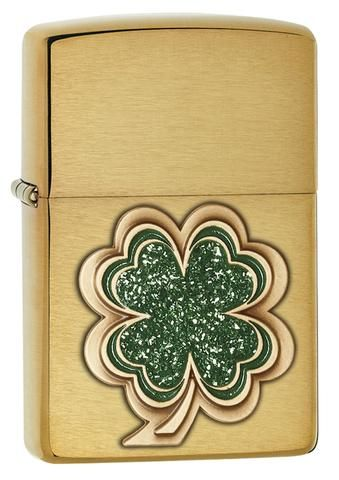 Clover Brushed Brass Zippo Lighter Personalised