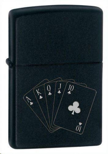 Clubs Royal Flush Black Matte Zippo Lighter Personalised