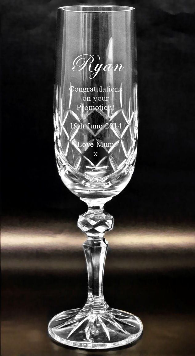 Cut Crystal Champagne Flute Engraved County Engraving