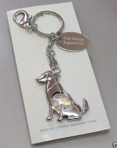 Dog Keyring with Swarovski Crystal Personalised