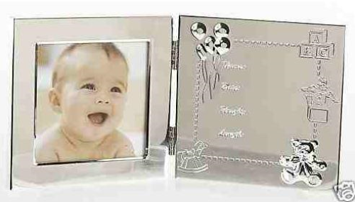Double Silver Baby Data Frame Personalised | County Engraving