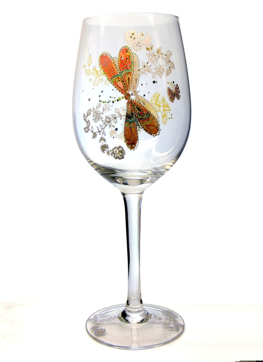 84b10cea0b0 Dragonfly Decorated Large Wine Glass Personalised | County Engraving