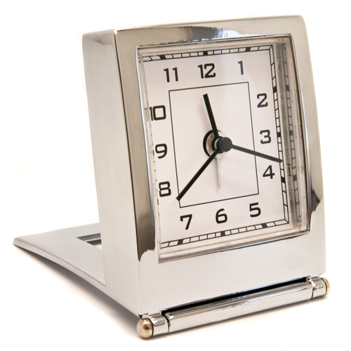 Folding Silver Desk or Travel Quartz Alarm Clock Personalised | County Engraving