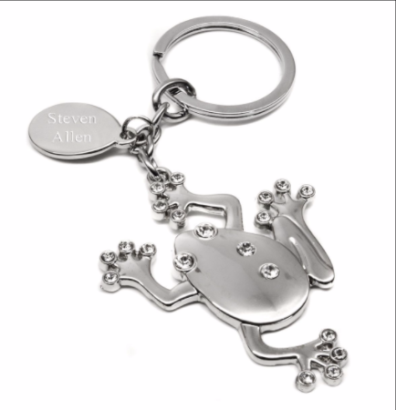 Frog Keyring With Diamante Crystals Personalised