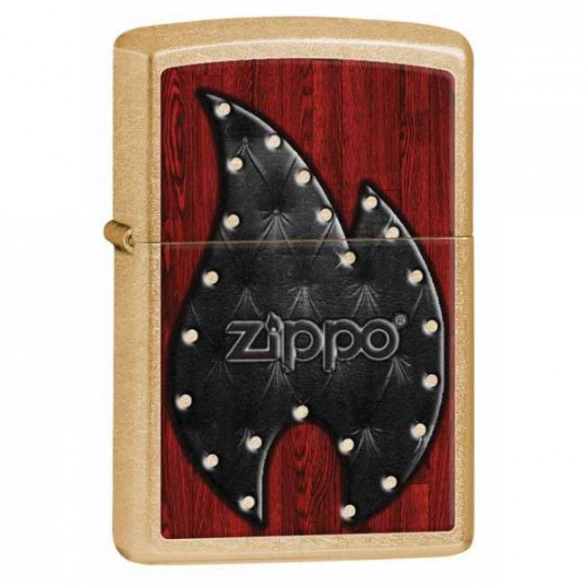 Gold Dust Leather Zippo Flame Lighter Personalised