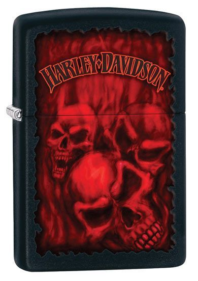 Harley Davidson Ghostly Red Skulls Zippo Lighter Personalised