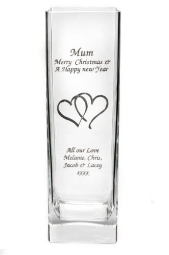 Hearts Tall Square Vase Personalised