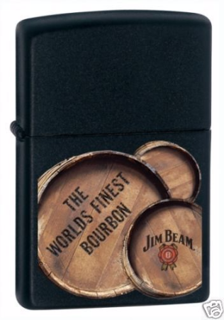 Jim Beam 3 Barrels Black Matte Zippo Lighter