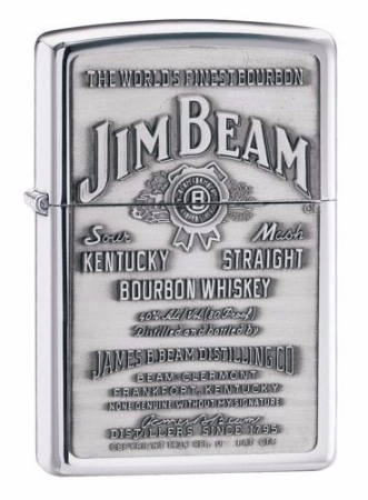 Jim Beam Pewter Emblem Chrome Zippo Lighter