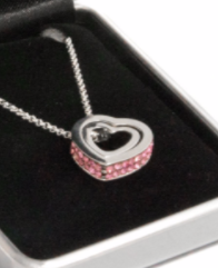 Ladies Double Pink Crystal Heart Necklace