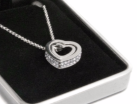 Ladies Double Silver Crystal Heart Necklace
