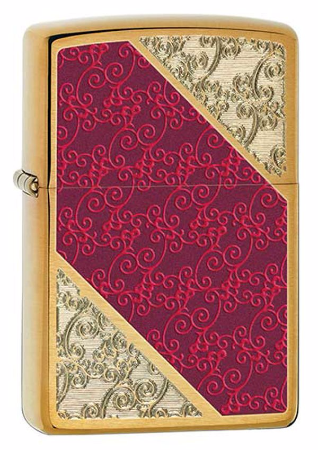 Luxury Damask Brushed Brass Zippo Lighter