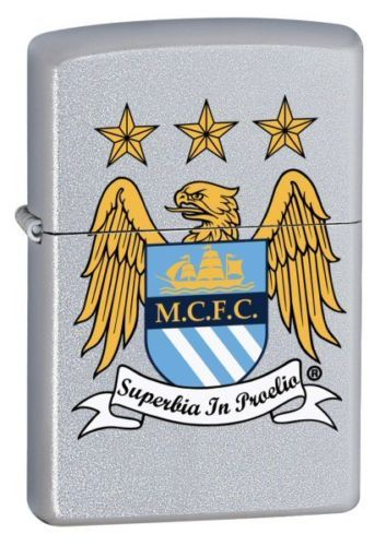 Manchester City FC Official Crest Satin Chrome Zippo Lighter Personalised