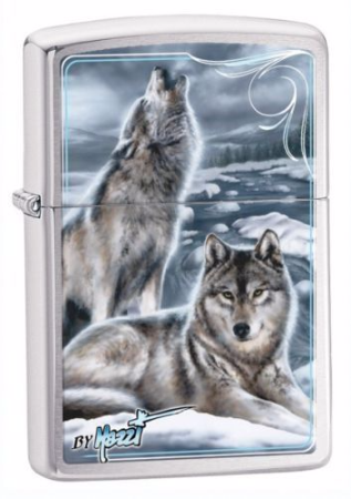 Mazzi Design Howling Wolves Zippo Lighter Personalised