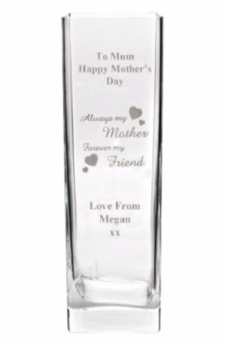 Mother's Day Tall Glass Vase Personalised