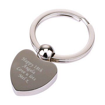 Nickel Heart Ball Key Ring Personalised