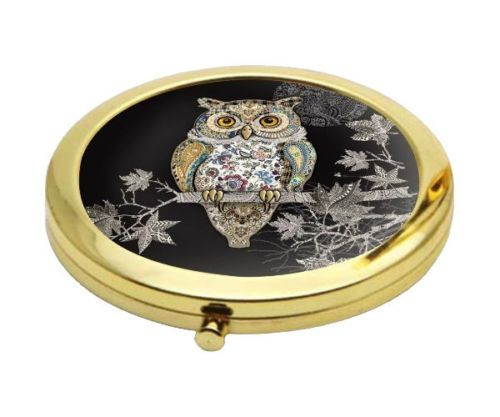 Owl Design Compact Mirror Personalised | County Engraving