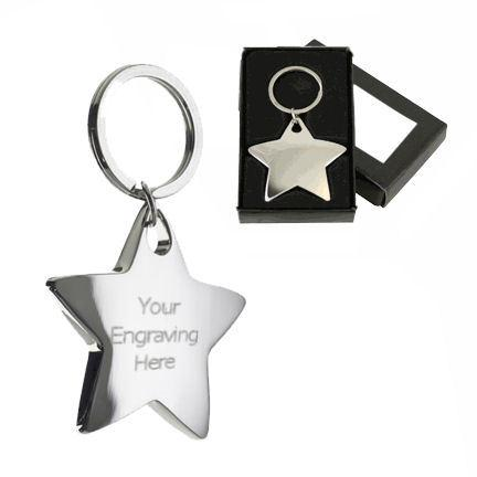 Polished Chrome Star Keyring Personalised