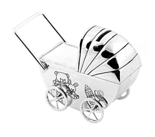 Pram Money Box Silver Plated Personalised | County Engraving