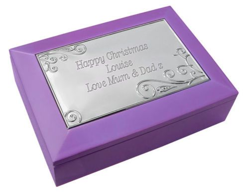 Purple Wooden Musical Trinket Box Personalised | County Engraving