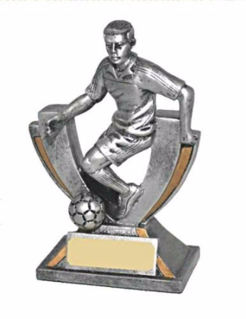 Resin Silver and Gold Football Player Trophy