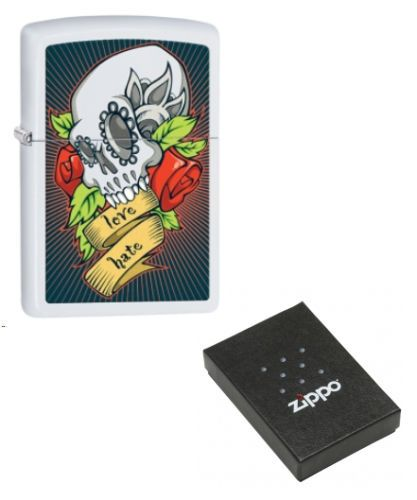 Rose-Adorned Skull Zippo Lighter Personalised