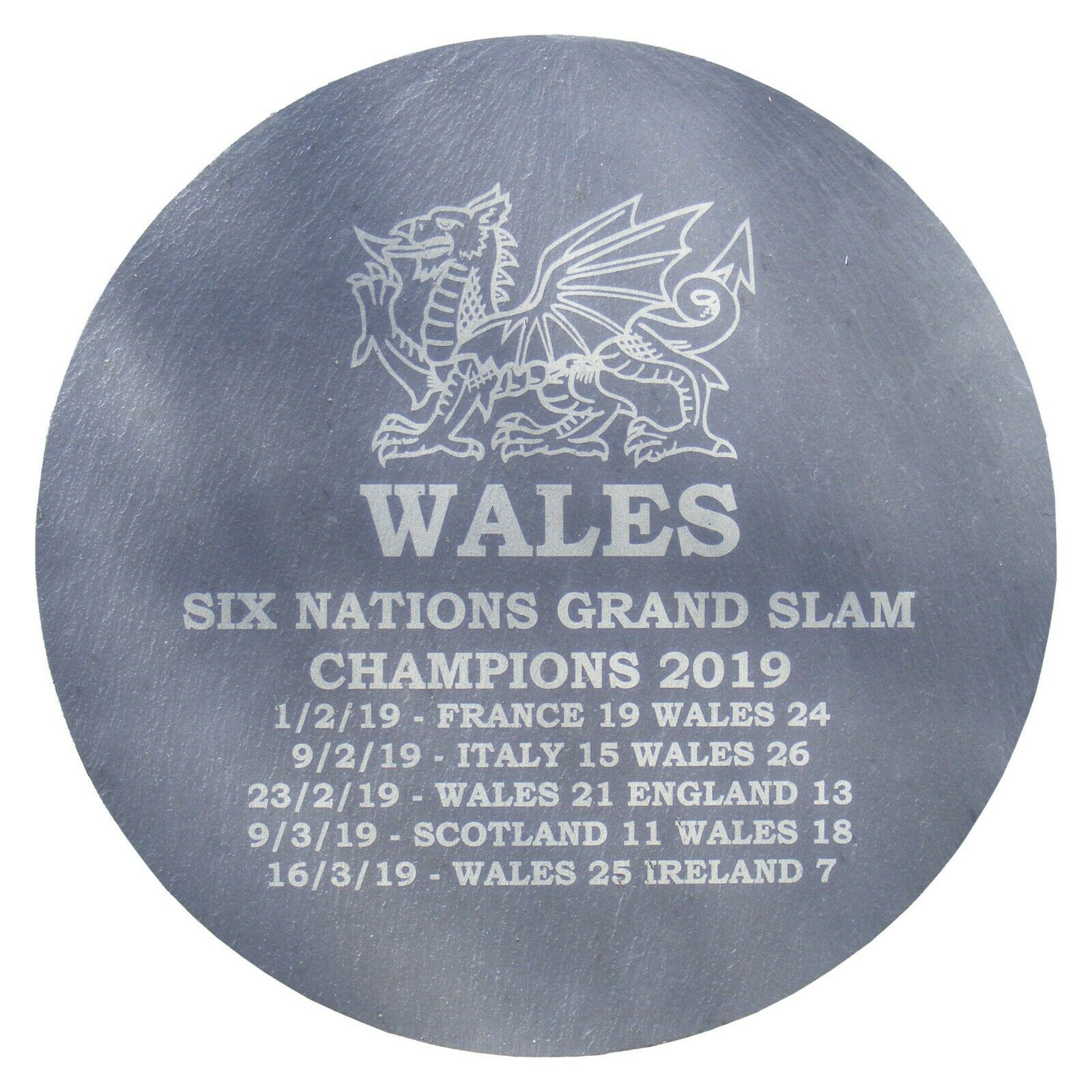 Slate Clock Welsh Feathers Engraved