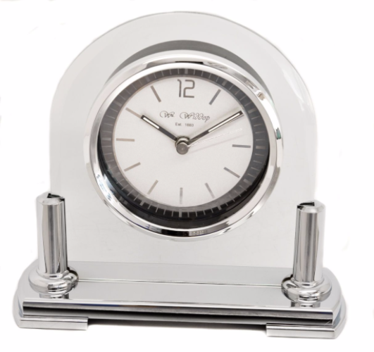 Silver and Glass Arched Mantel Clock Personalised | County Engraving