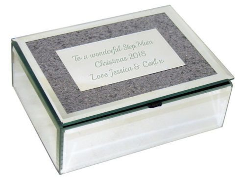 Silver Mirrored Glass Glitter Jewellery Box  Personalised For Christmas | County Engraving