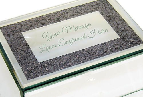 Silver Mirrored Glass Jewellery Box  Personalised | County Engraving