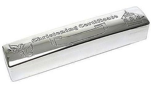 Silver Plated Christening certificate holder