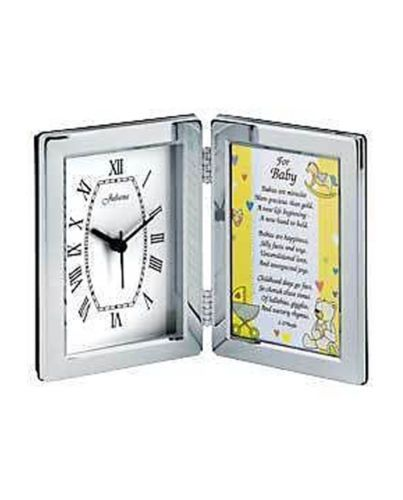 Silver Plated Clock and Baby Verse Frame Personalised