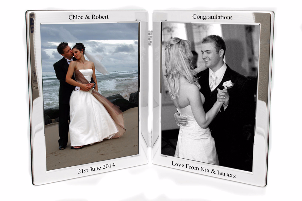 Silver Plated Double Photo Frame Personalised | County Engraving