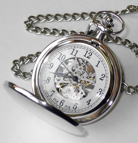 skeleton pocket watch silver plated personalised county engraving