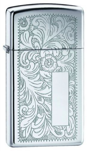 Slim Venetian Polished Chrome Zippo Lighter