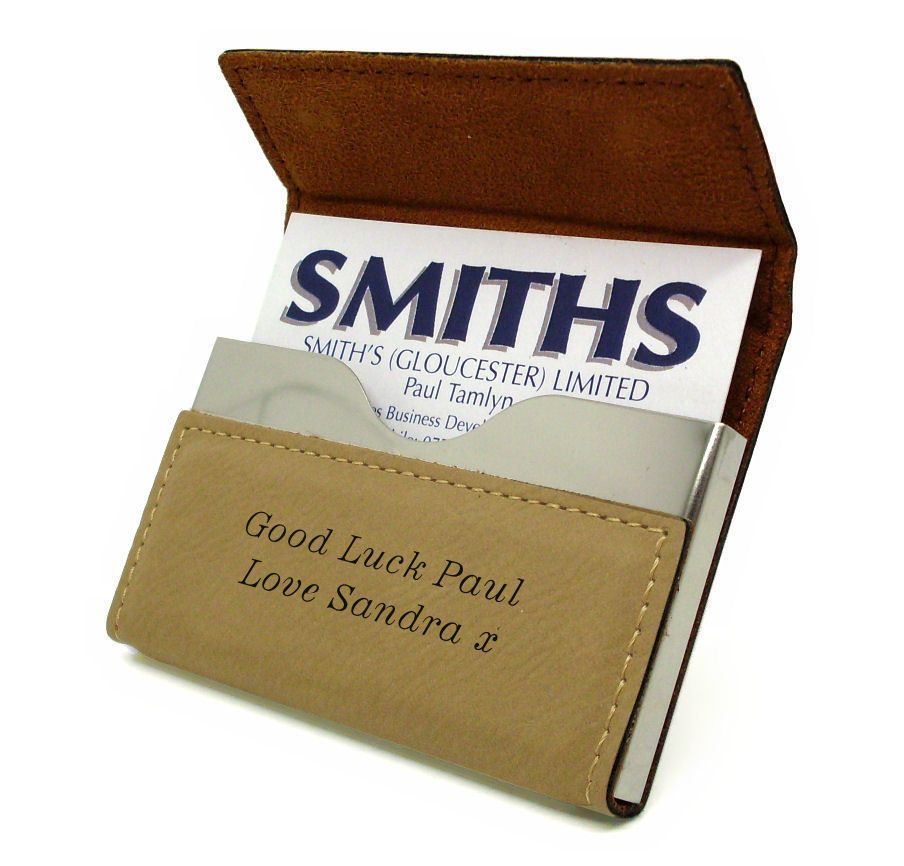 Tan Leatherette Business Card Holder Personalised | County Engraving
