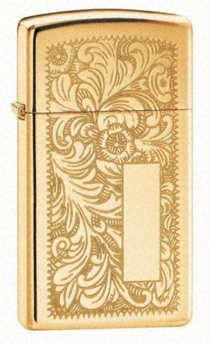 Venetian Polished Brass Slim Zippo Lighter